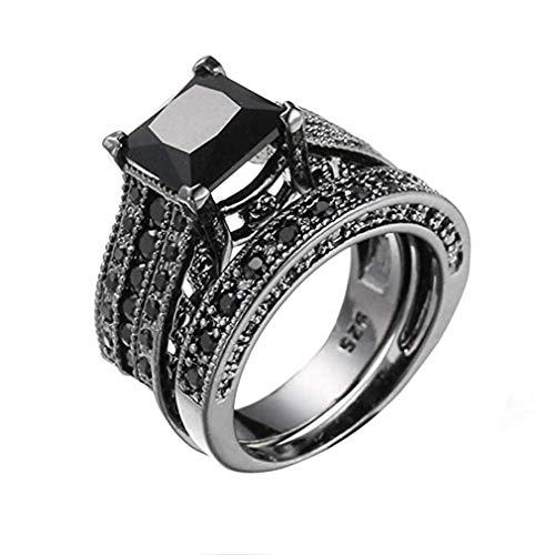 Clover Spinner (Windoson 2-in-1 Womens Vintage Blue Black Diamond Silver Engagement Wedding Band Ring Jewelry Gift (9, Black))