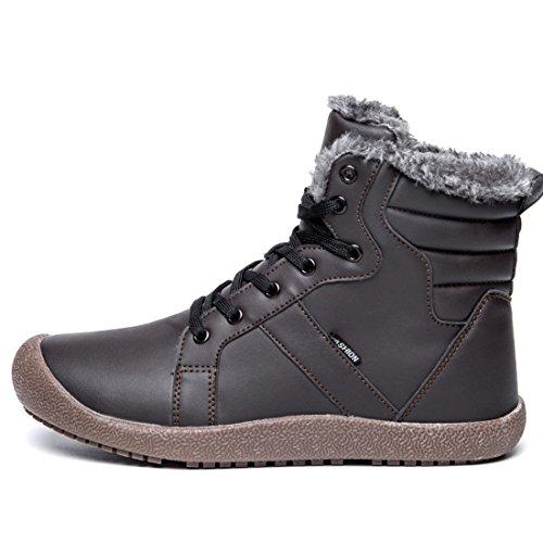 Waterproof Herren Warm Winterschuhe Damen Boots Schneestiefel Stiefelette Grau FUSHITON Gefütterte Schnüren x8wHp7np5q