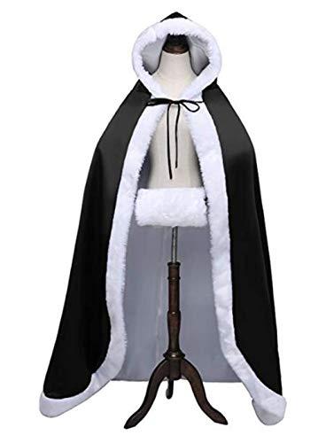 Con Capa La Boda Mujeres Largo Cálida Manto Capucha De Invierno Negro Las Lujo Novia Mujer El 6RT8qnw