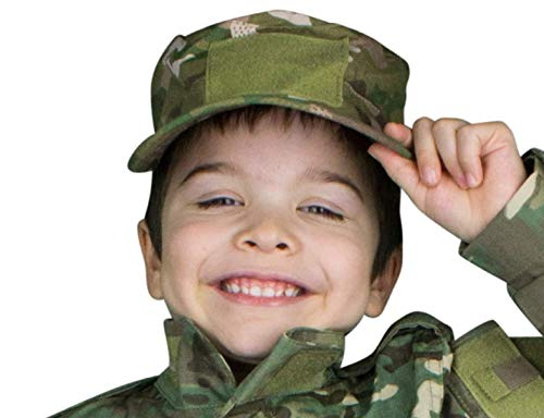 Kids Cadet Military Adjustable Cap - Army Camo Flattop Hat - Boys Girls Children (MultiCam) ()