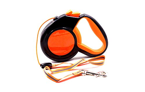 orange 5 orange 5 Retractable Dog Leash, 360° Tangle-Free 10 16 26 ft Strong Nylon Tape Ribbon Dog Walking Leash with Anti-Slip Handle for Small, Medium & Large Dogs,orange,5