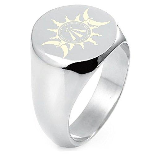 Sun Round Ring (Sterling Silver Celtic Awen Arwen Sun & Moon Symbol Engraved Round Flat Top Polished Ring, Size 7)