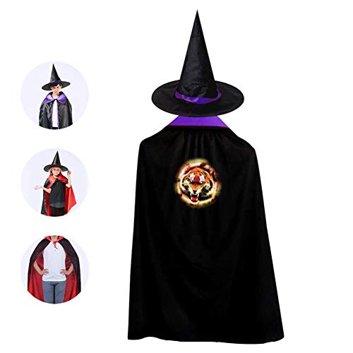 Kids Fire Tiger Face Halloween Costume Cloak for Children Girls Boys Cloak and Witch Wizard Hat for Boys Girls -