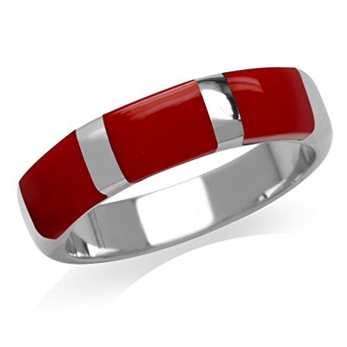 3-Stone Created Red Coral Inlay White Gold Plated 925 Sterling Silver Ring Size 7 (Coral Ring Inlay Red)