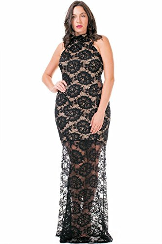 Nyt Womens Plus Size Long Black Lace Mermaid Gown Sleeveless  1X