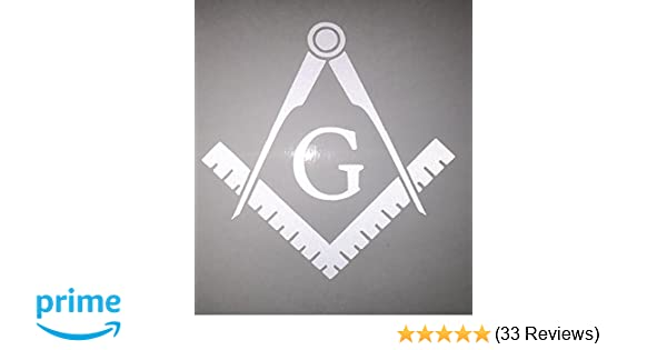 Masonic Gold Square and Compass Small Reflective Decal Sticker