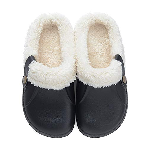Clog Slippers Fluffy Fleece Lined Winter Indoor Outdoor Non-Slip House Home Slip on Garden Shoes for Men Women Black 37-38