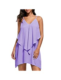 Gocheaper Fashion Womens Sleeveless Overlay Flowy Ruffles V-Neck Solid Camis Mini Dress (L, Purple)