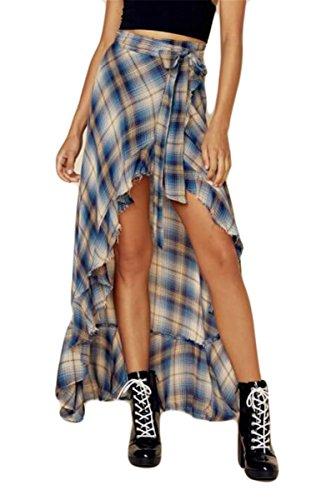Qikaka Femmes taille haute  carreaux imprims  volants moulantes partie dcontracte haut bas Hem Maxi jupes Treillis