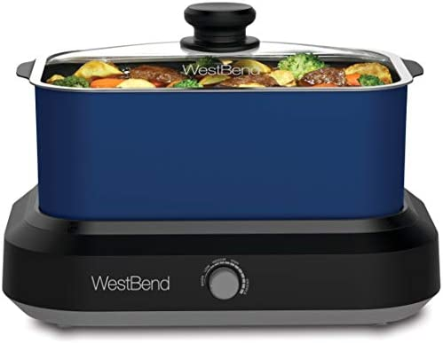 West Bend 87905B Large Capacity Non-Stick Versatility Cooker with 5 Different Temperature Control Settings Dishwasher Safe Includes a Travel Lid and T, 5 quart, Blue