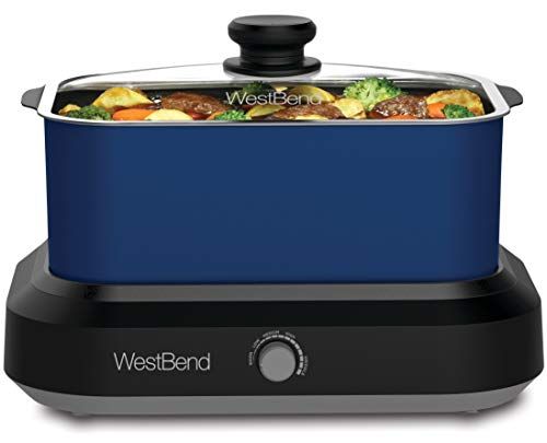 West Bend 87905B Large Capacity Non-stick Versatility Slow Cooker with 5 Different Temperature Control Settings…