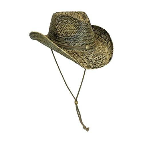Black Stained Seagrass Western Cowboy Hat with Shapeable Brim and Chin Strap Pinch Front Straw