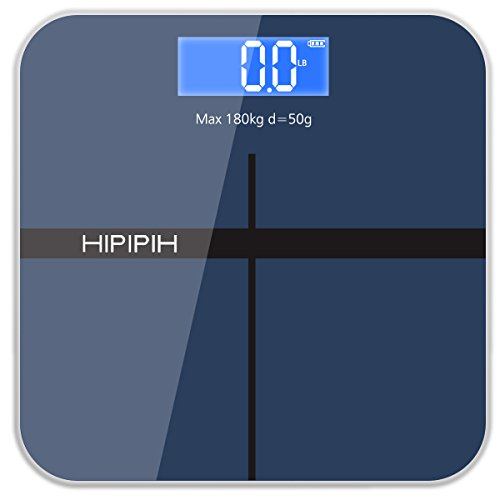 Hippih Digital Body Weight Bathroom Scale with Step-On Technology Measures Weight 400lb/180kg AAA Glass Square 004 (Blue)