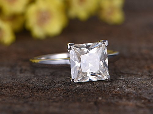 Solid 14k White Gold 8x8mm Princess Cut VS Moissanite Engagement Ring Bridal Wedding Band 4 Prong Set Size (Round Vs Princess Cut)