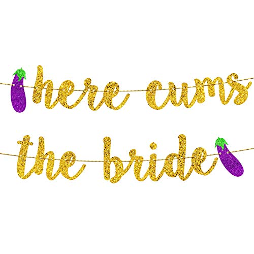 Bachelorette Party Decorations | Bridal Shower Decorations | Bachelorette Party Supplies | Engagement Party Decorations | Here Comes The Bride Gold Glitter Banner