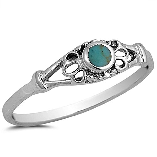 Vintage Style Turquoise Stone Jewelry 925 Sterling Silver Stabilized Turquoise Band Ring (9) by Edric Jewelry (Image #1)