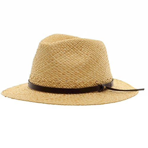 Scala Leather Safari Hat - Scala Men's Natural Raffia With Trim Safari Straw Hat Sz: L/XL