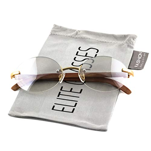 Retro Wood Buffs Vintage Style Gangster Rimless Clear Lens Oval Eye Glasses (Tinted-Clear/Cherry, 55)