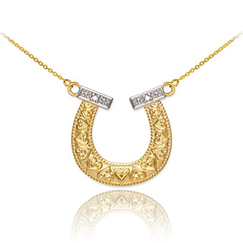 14k Two-Tone Yellow and White Gold Milgrain-Edged Lucky Diamond Horseshoe Pendant Necklace, (Diamond Lucky Horseshoe Pendant)