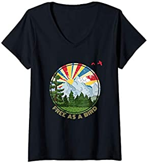 Womens Free As A Bird Funny Outdoor Enthusiast Hiking Camping  V-Neck T-shirt | Size S - 5XL