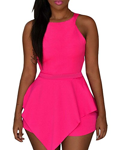 Sexy Womens Sleeveless Cut Out Back Peplum Romper Pink (Pink Catsuit)