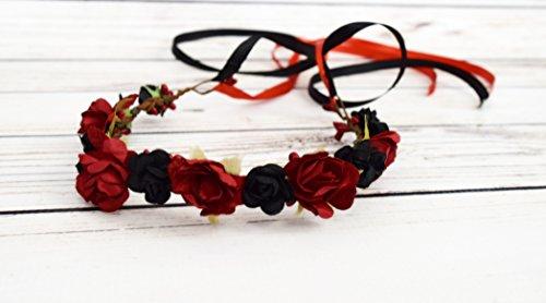 Handcrafted Red and Black Flower Crown - Renaissance Hair Wreath - Red Rose Crown - Medieval Flower Crown - Adult Flower Crown - Woodland Wedding