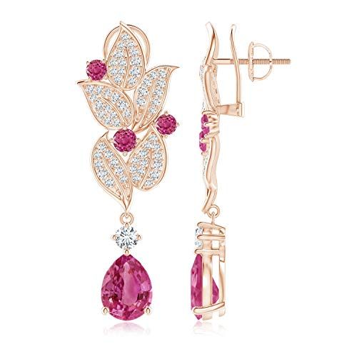 Pear and Round Pink Sapphire Leaf Drop Earrings in 14K Rose Gold (9x7mm Pink Sapphire)
