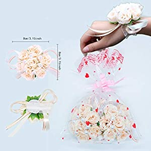 WIFELAI-A Hand Flower Wristband Adjustable Ribbon Bride Bridesmaid Wedding Wrist Corsage Hand Decorative Bracelet Wristband Artificial Fabric Rose Wedding Flowers Accessories Prom Festival 112