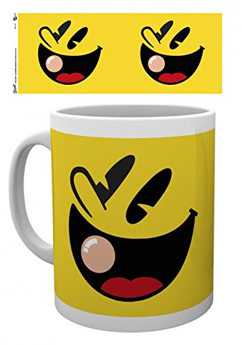 Man Face Pac (Set: Pac-Man, Faces Photo Coffee Mug (4x3 inches) And 1x 1art1 Surprise Sticker)