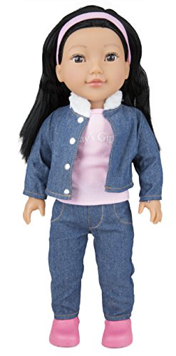 """Today's Girl Dolls by CP Toys – 18"""" Leah Doll, Asian Features with Black Hair – Compatible With All 18"""" Doll Accessories Including American Girl, Our Generation, and More"""