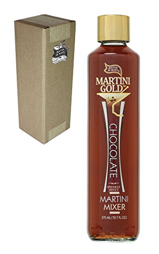 Master of Mixes Martini Gold Chocolate Drink Mix, 375 ml Glass Bottle (12.7 Fl Oz), Individually - Vodka Alcohol Non