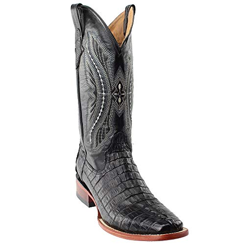 Ferrini Mens Caiman Croc Tail Rnd Blk Boots 7EE ()