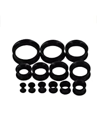 D&M Jewelry 26pcs Thin Silicone Hollow Flexible Ear Tunnels Kit Stretching Set 8G-1""