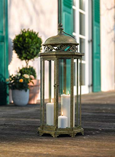 Large 24.4 in. Metal Moroccan Hanging Candle Lantern, Clear Glass Product SKU: CL221885