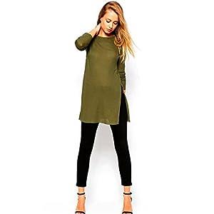 HANYI Women Side Split Long Sleeve Round Neck t-Shirt Knitting Blouse (XL, Army Green)