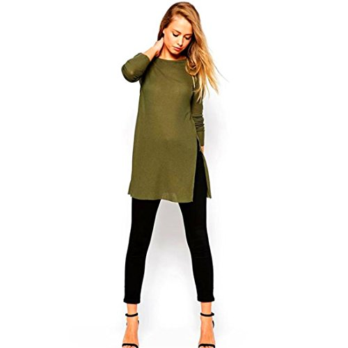 HANYI Women Side Split Long Sleeve Round Neck t-Shirt Knitting Blouse (XL, Army - Link Eyewear