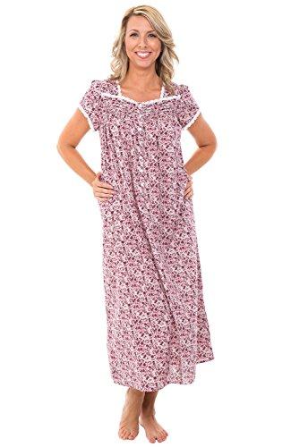 Alexander Del Rossa Womens 100% Cotton Lawn Nightgown, Cap Sleeve Sleep Dress, X-Large Floral Bloom (A0585V83XL)