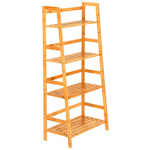 Ollieroo 100% Natural Bamboo Bookcase Ladders 4 Tier Multifunctional Storage Rack Book Shelving Rack Unit