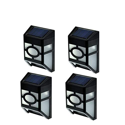 [Upgrade Slope Top]Falove 2-LED Mission-Style Solar Deck Accent Lights Wall Mount Solar LED Light*White Light*4pcs