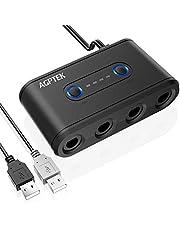 AGPTEK Adaptateur Manette Gamecube Convertisseur 3 en 1, Gamecube Contrôleur Adapter pour Super Smash Bros avec Turbo et Bouton Home 4 Ports pour Wii U, Nintendo Switch et Ports USB pour PC-Noir