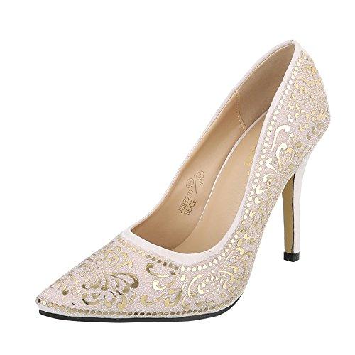 Ital-Design High Heel Damenschuhe Plateau Pfennig-/Stilettoabsatz High Heels Pumps Beige