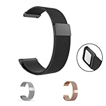 Lamshaw Milanese Magnetic Loop Stainless Steel Watch Strap 18mm, 20mm, 22mm and choice of 3 colors (20mm, Black)
