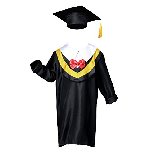 OULII Children Graduation Cap and Gown For 130cm height (Yellow Line) ()