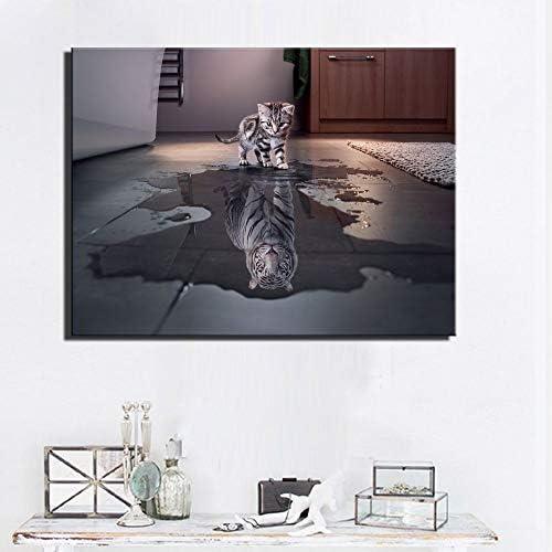 動物ウォールアートポスターとプリント猫と虎現代風景ポップアートキャンバス写真用リビングルーム壁の装飾50×50センチいいえフレー