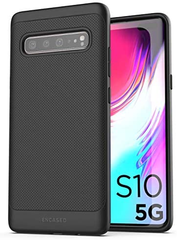 Encased Galaxy S10 5G Case (Thin Armor) Slim Fit Flexible Grip Cover for Samsung S10-5G Model (Black)