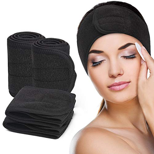 Spa Facial Headband for Women, Make Up Hair Band with Adjustable Magic Tape, Non-slip & Stretch, Terry Cloth Head Wrap Towel for Bath, Shower, Yoga - 4Pcs