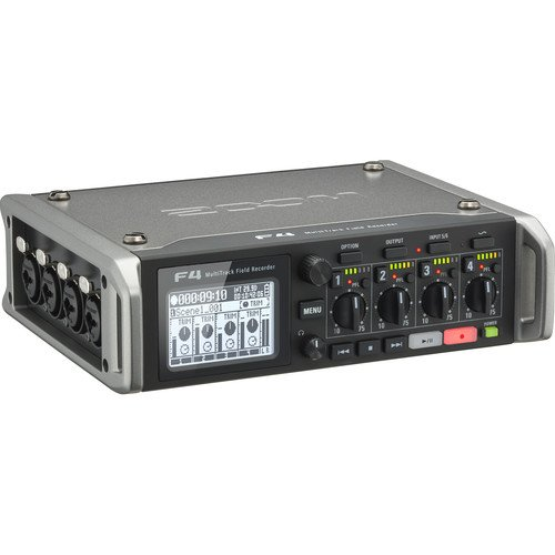 Zoom F4 Multitrack Field Recorder Kit with PCF-4 Protective Case, 4  Batteries and Charger
