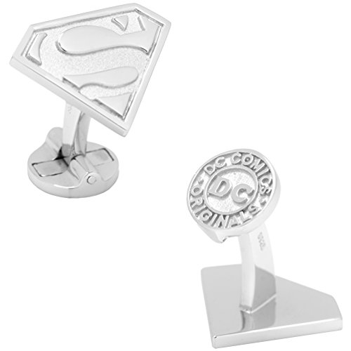 Superman DC Comics Officially Licensed Shield Cufflinks, Silver (Superman Silver Shield)