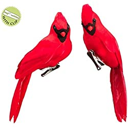 Allstate Set of 2 In the Birches Red Cardinal Bird Clip On Christmas Figure Ornaments 8""