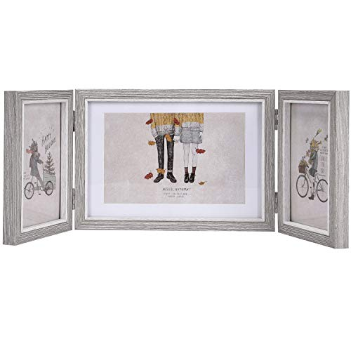 wenmer Rustic Three Picture Frames Triple Hinged Picture Frame Display 4x6 and 5x7 Pictures for Desktop or Tabletop 1 Pack (Triple Hinge Frame)